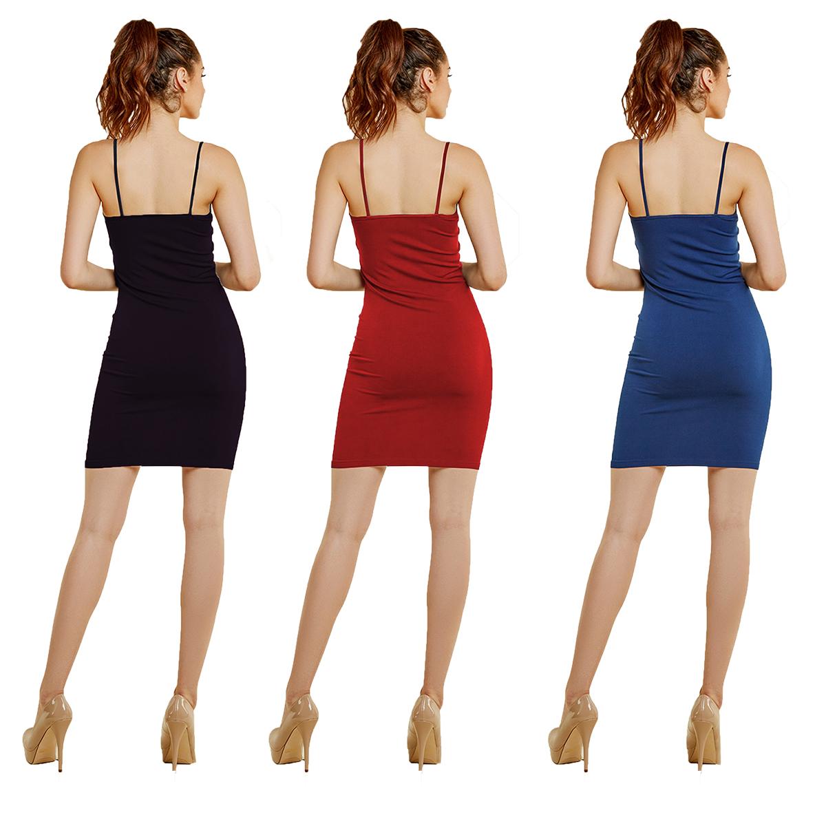 b09c98fbf2ea07 Women's 3 Pack Seamless Camisole Tank Slip Dress Sexy Bodycon ...