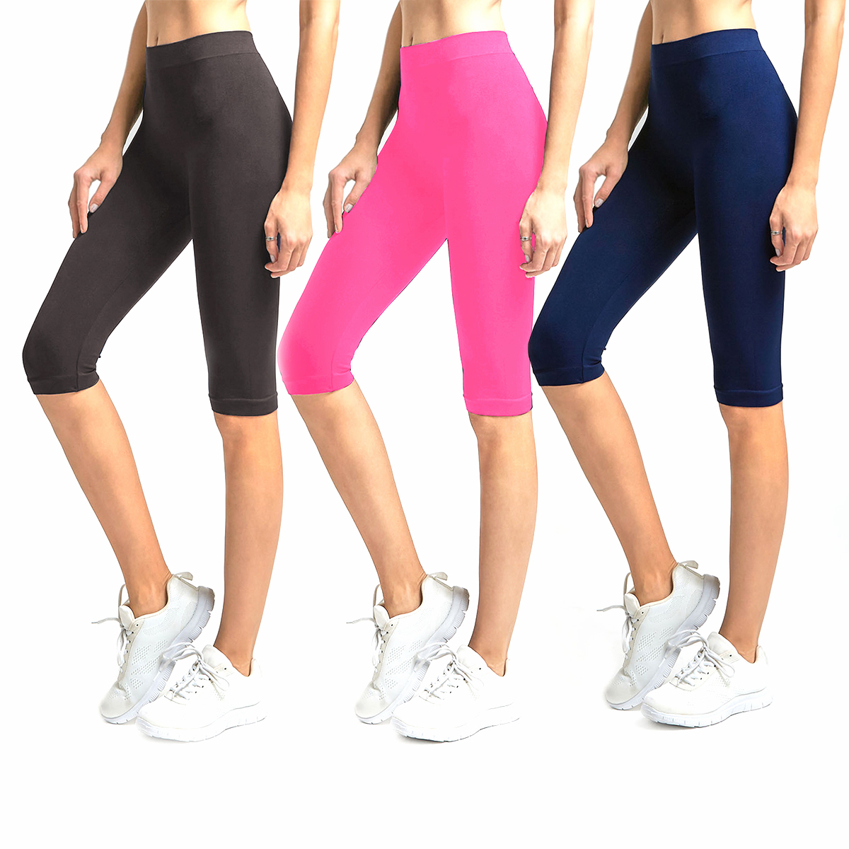 Solid Knee Length Short Spandex Yoga Leggings 3 Pack